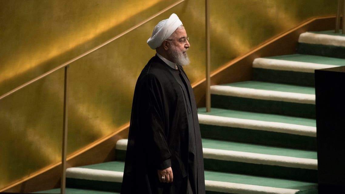 President Rouhani arrives to address the 73rd session of UN General Assembly on Sept. 25, 2018. (AP)