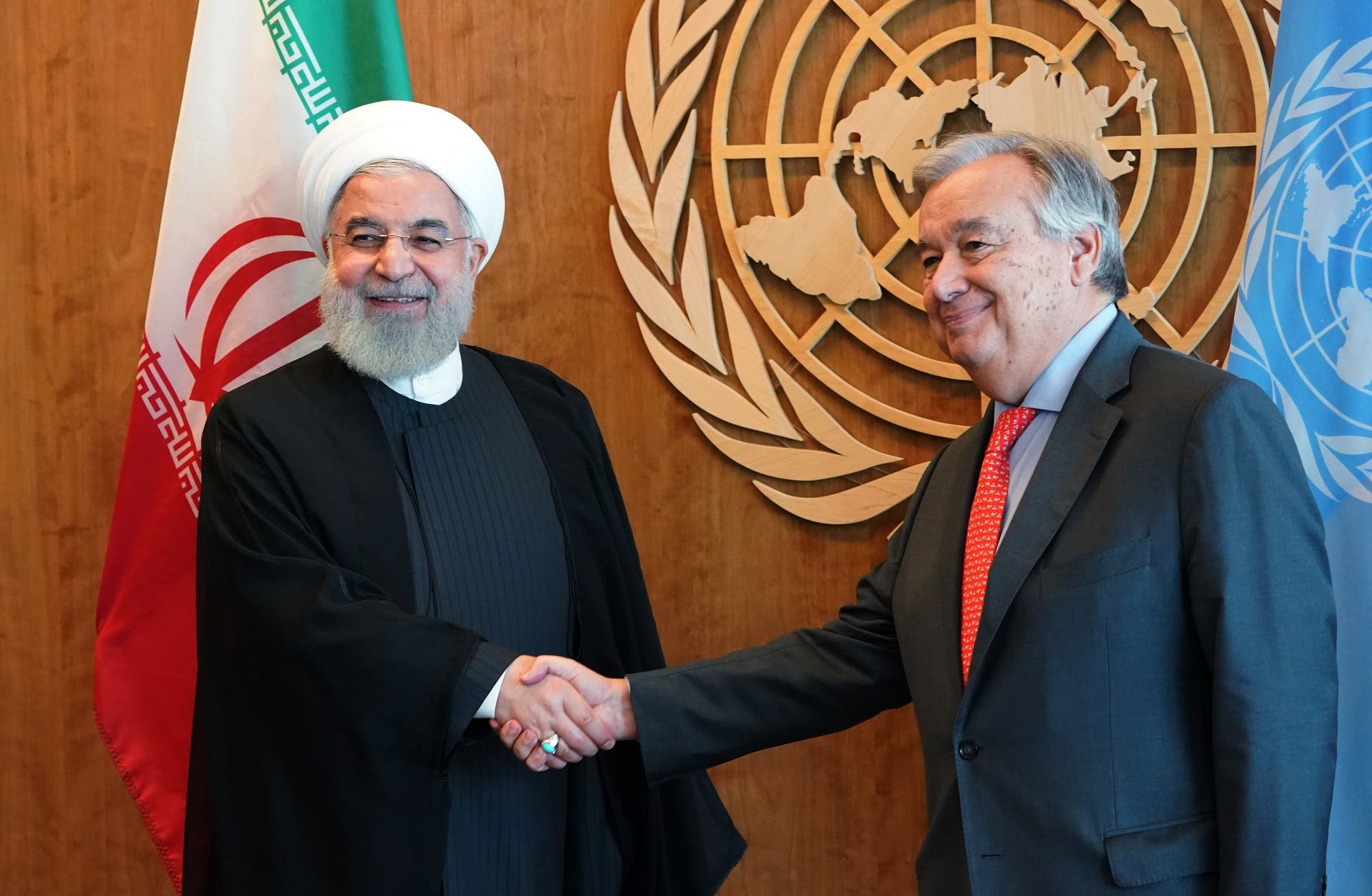 President Rouhani meets with UN Secretary General Antonio Guterres in New York on September 26, 2018, on the sidelines of the United Nations General Assembly. (AFP)