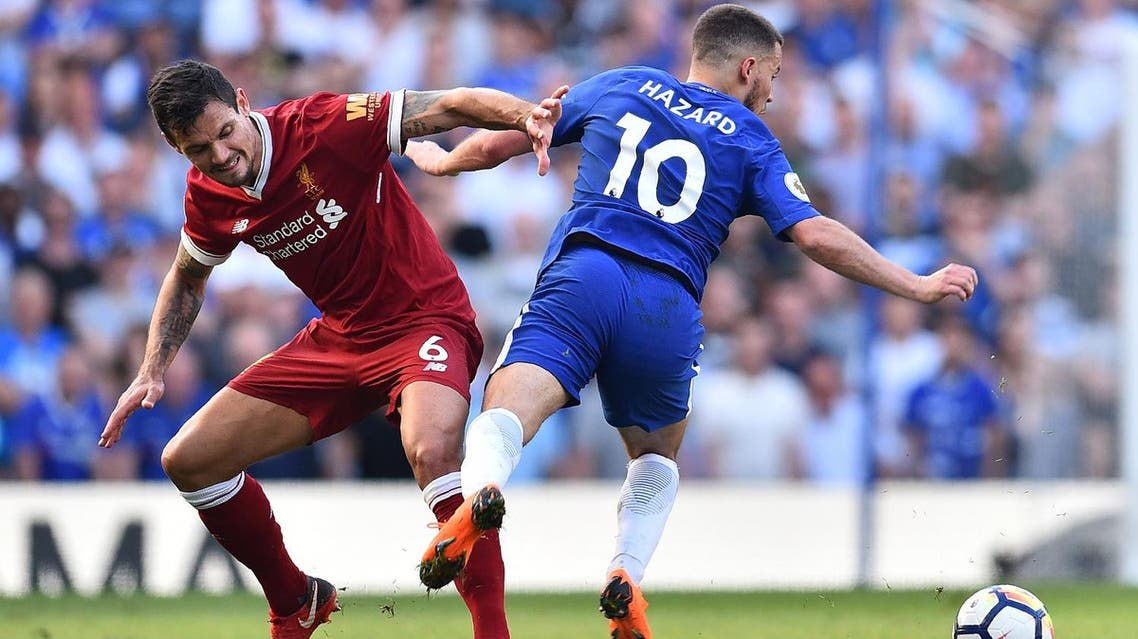 Liverpool's Dejan Lovren (L) vies with Eden Hazard during their match in London on May 6, 2018. (AFP)