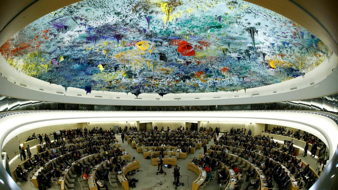 FILE PHOTO: Overview of the United Nations Human Rights Council is seen in Geneva, Switzerland June 6, 2017. Picture taken with a fisheye lens. REUTERS/Denis Balibouse/File Photo