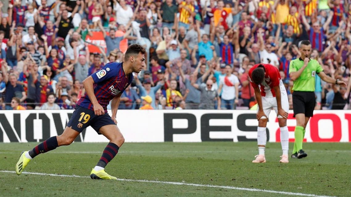 Barcelona's Munir El Haddadi celebrates scoring their first goal. (Reuters)