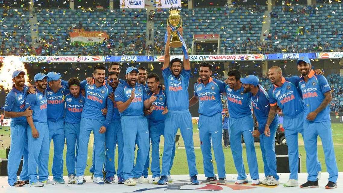 Indian Cricket team celebrates after won during the final one day international (ODI) Asia Cup cricket match between Bangladesh and India at the Dubai International Cricket Stadium in Dubai on September 28, 2018. (AFP)