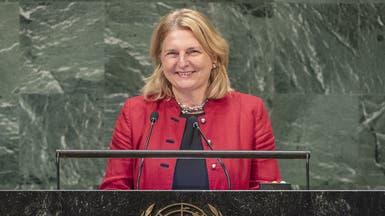 شاهد وزيرة خارجية النمسا تتحدث العربية.. تحية للموجوعين