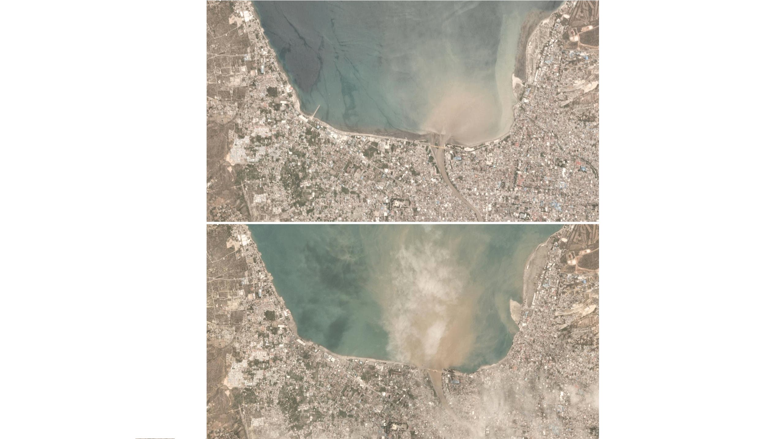 A combination of satellite images shows Palu, Indonesia on September 25, 2018 (top) and on September 29, 2018 (bottom). (Reuters)