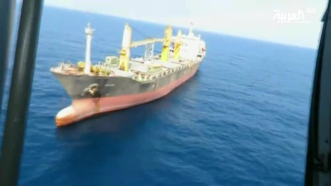 The Iranian ship, which practices military activities under a trade cover, has previously transferred experts from Iran to Yemen. (Al Arabiya)