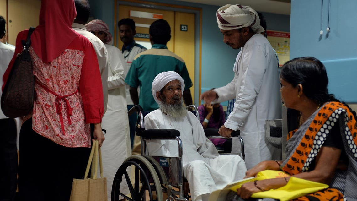 An elderly Omani patient (C) waiting for consultation at Apollo Hospital in Chennai on March 26, 2014. (File photo: AFP)