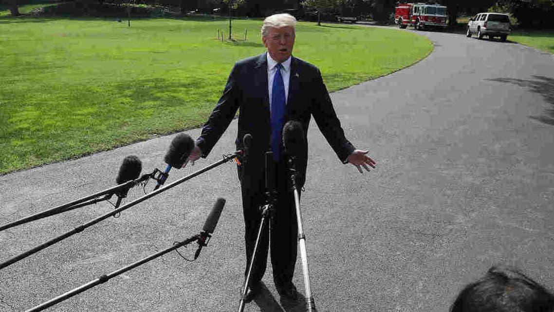ترمب أثناء حديثه للإعلاميين عن كافانو