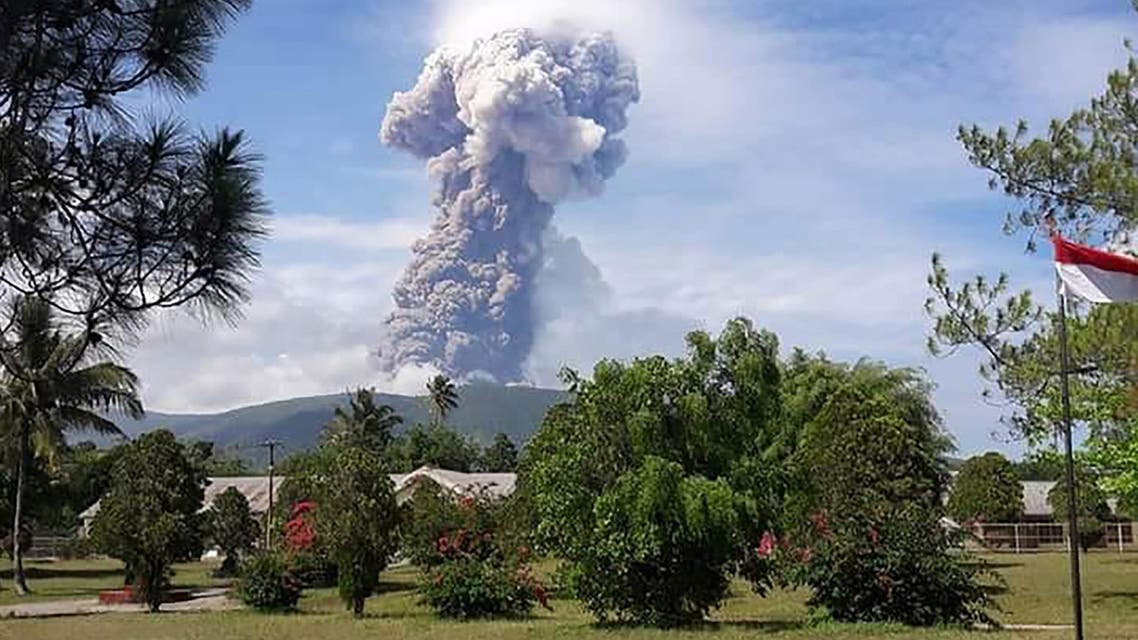 Volcano erupting ash up to 4,000 meters above the crater, as seen in Southeast Minahasa, North Sulawesi Province on October 3, 2018. (AFP)