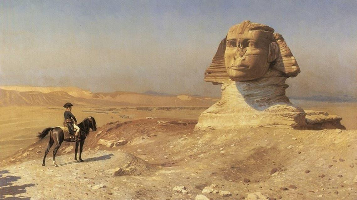 لوحة زيتية تخلد وقوف نابليون بونابرت أمام تمثال أبو الهول