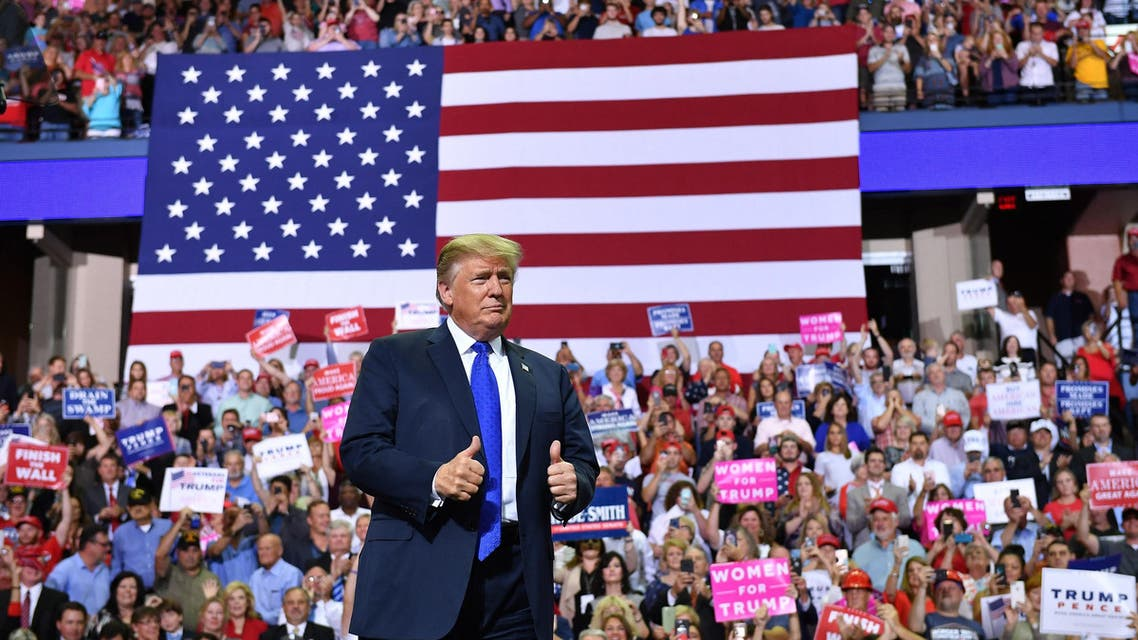 """President Trump at a """"Make America Great Again"""" rally in Mississippi on October 2, 2018. (AFP)"""