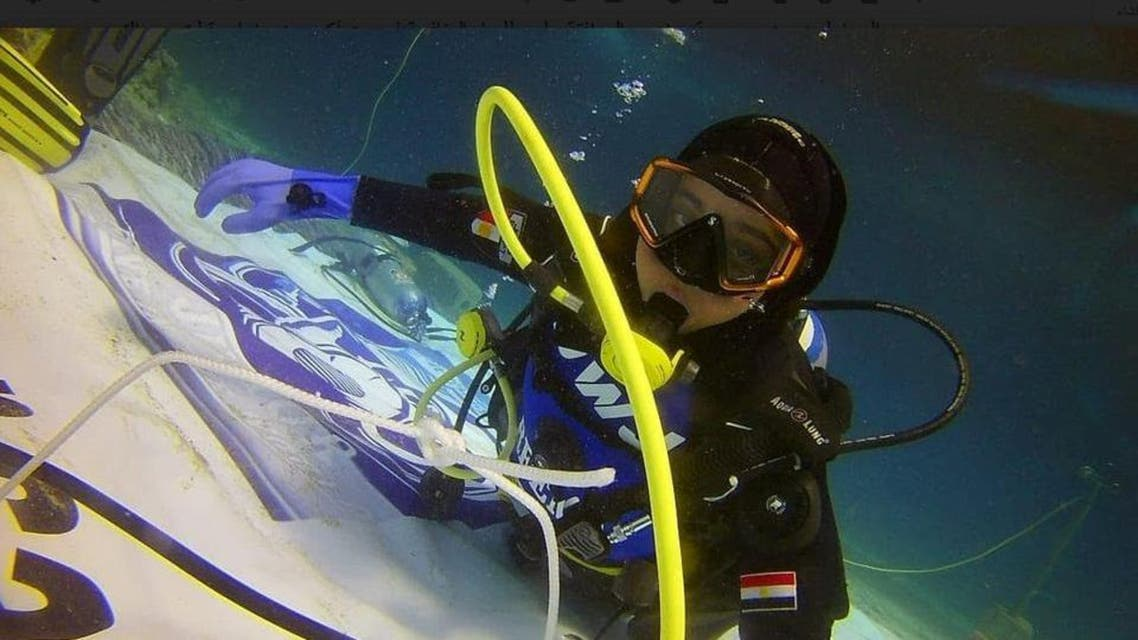 Egyptian girl diver breaking world record. (Supplied)