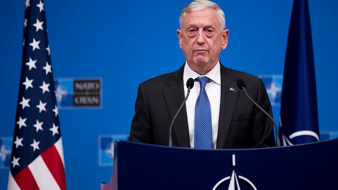 US Secretary for Defence Jim Mattis talks to journalists during a news conference at the end of the second day of a meeting of the North Atlantic Council at a gathering of NATO defense ministers at NATO headquarters in Brussels, Thursday, Oct. 4, 2018. (AP)