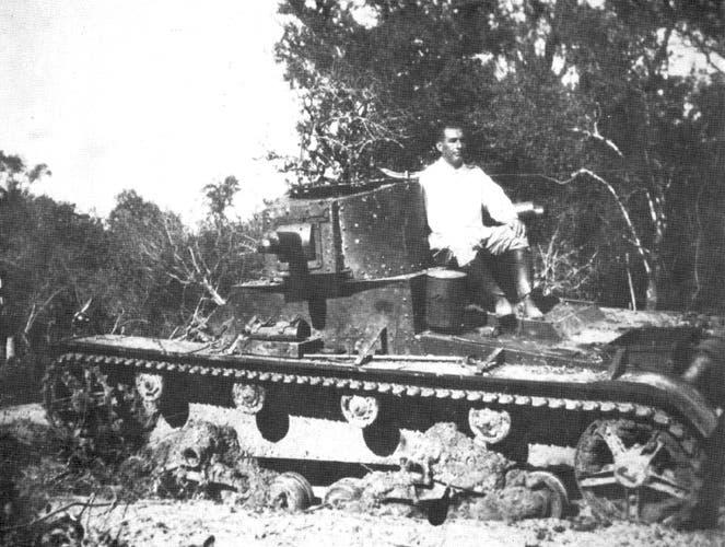 صورة لإحدى الدبابات المدمرة خلال حرب تشاكو