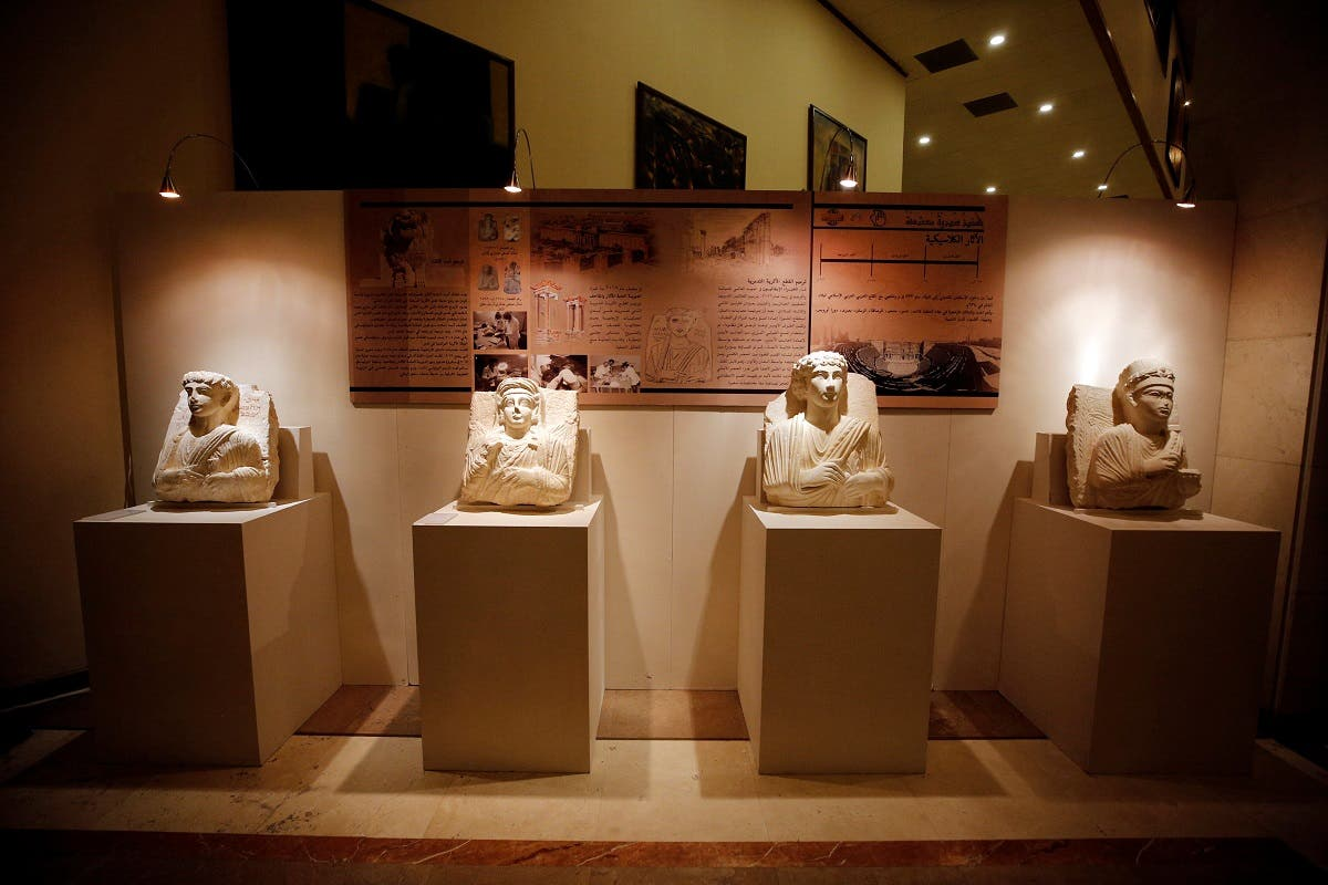 Syria antiquities display in Damascus Opera. (Reuters)
