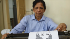 VIDEO: Indian who turned typewriter into canvas for celebrity portraits