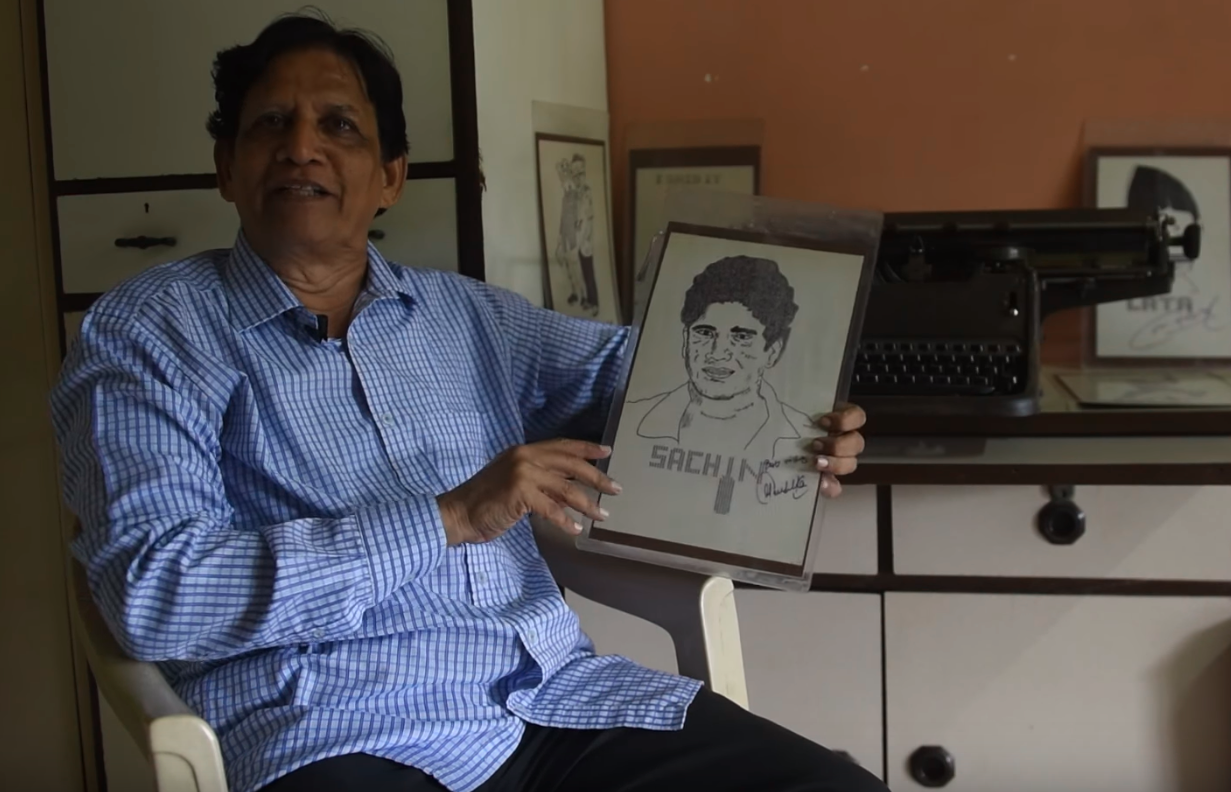 Bhide draws portraits of famous personalities – politicians, sportspersons, actors – on his typewriter. (Screengrab)