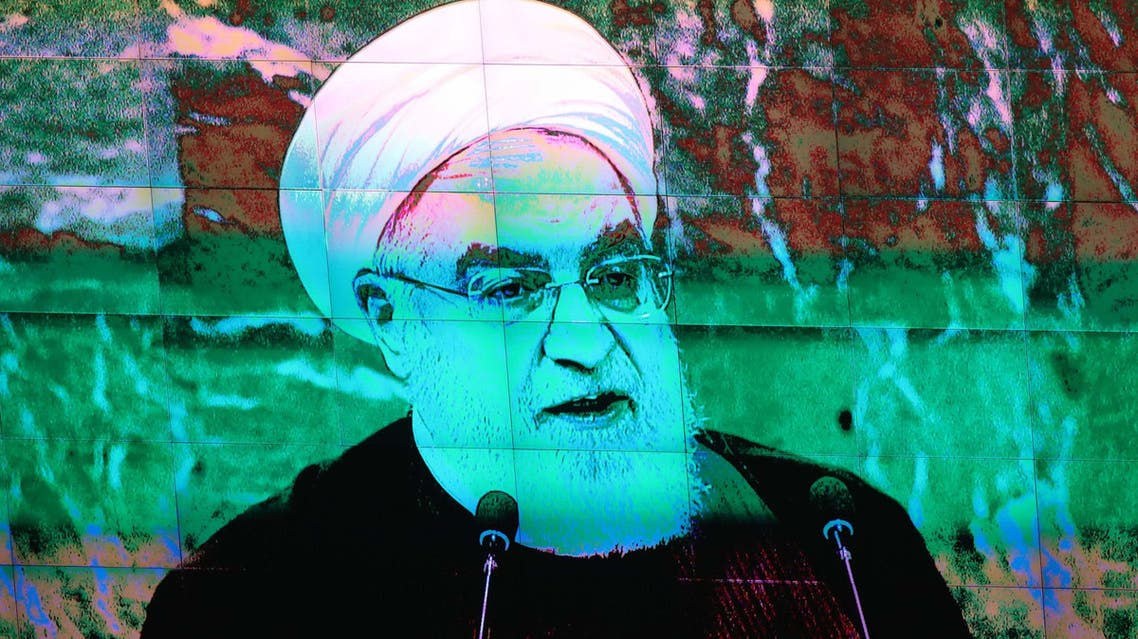 Iran's President Hassan Rouhani is shown on a large screen as he addresses the 73rd session of the United Nations General Assembly at U.N. headquarters in New York, U.S., September 25, 2018. (Reuters)
