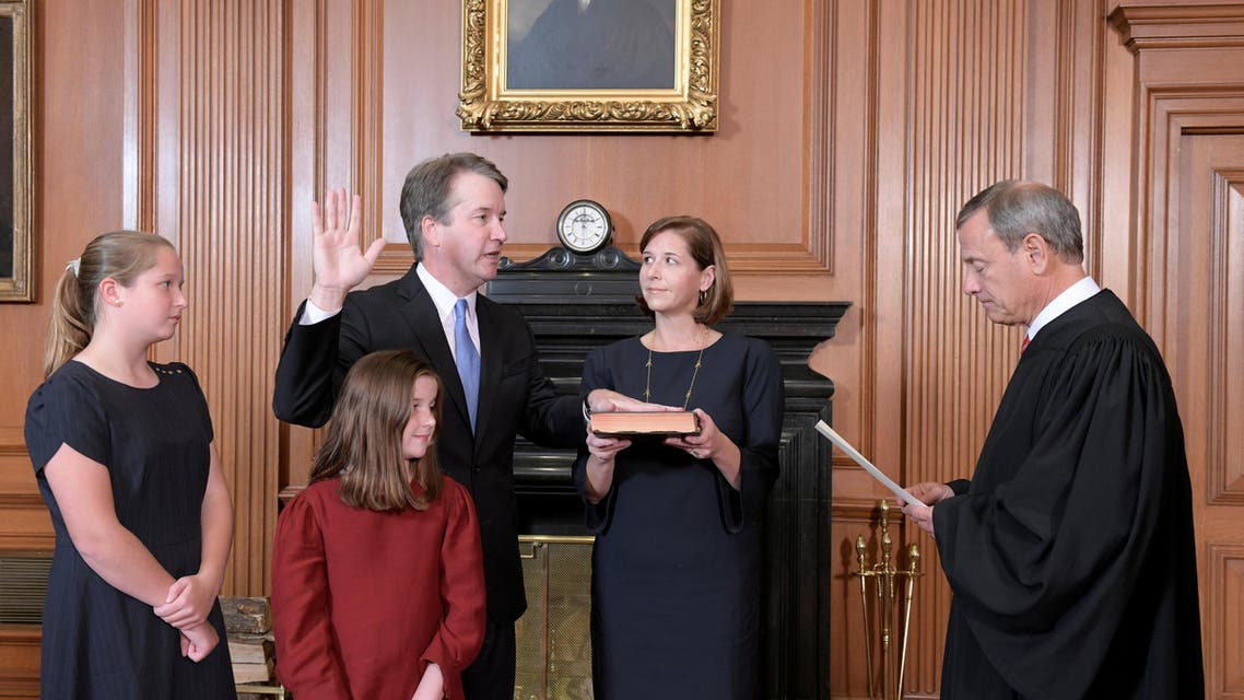 Judge Brett Kavanaugh is sworn in as an Associate Justice of the U.S. Supreme Court by Chief Justice John Roberts at the Supreme Court in Washington. (Reuters)