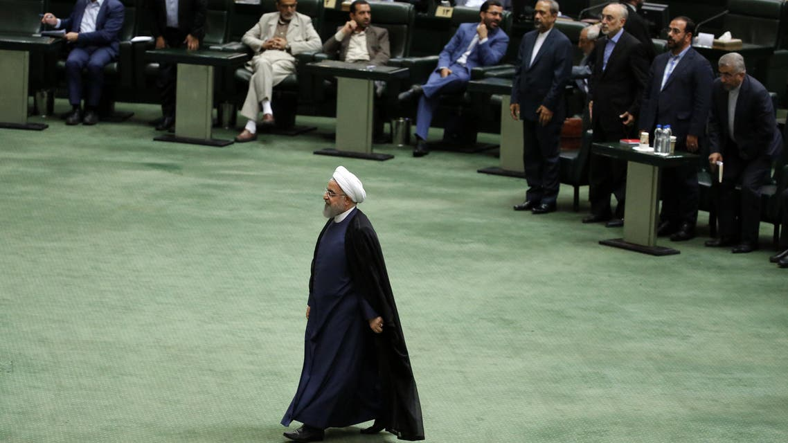 President Hassan Rouhani arrives at the Iranian Parliament in the capital Tehran, on August 28, 2018. It was the first time Rouhani had been summoned by parliament in his five years in power, with MPs demanding answers on unemployment, rising prices and the collapsing value of the rial, which has lost more than half its value since April.