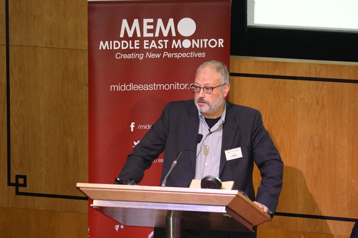 Khashoggi speaks at an event hosted by Middle East Monitor in London. (Reuters)