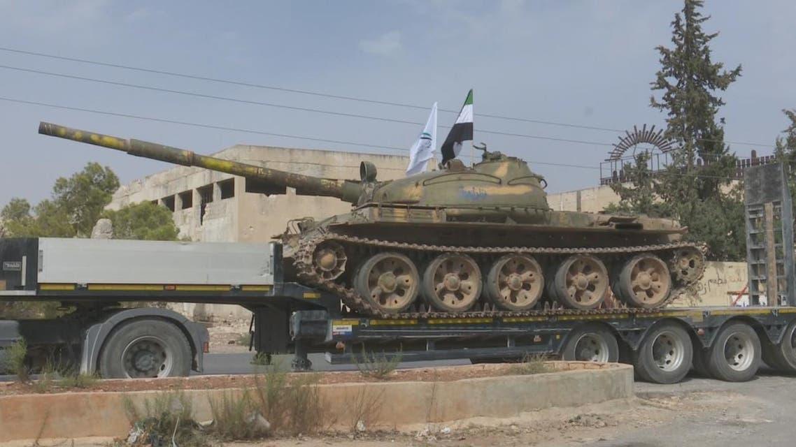 فيديو .. فصائل معارضة تسحب أسلحتها الثقيلة من إدلب