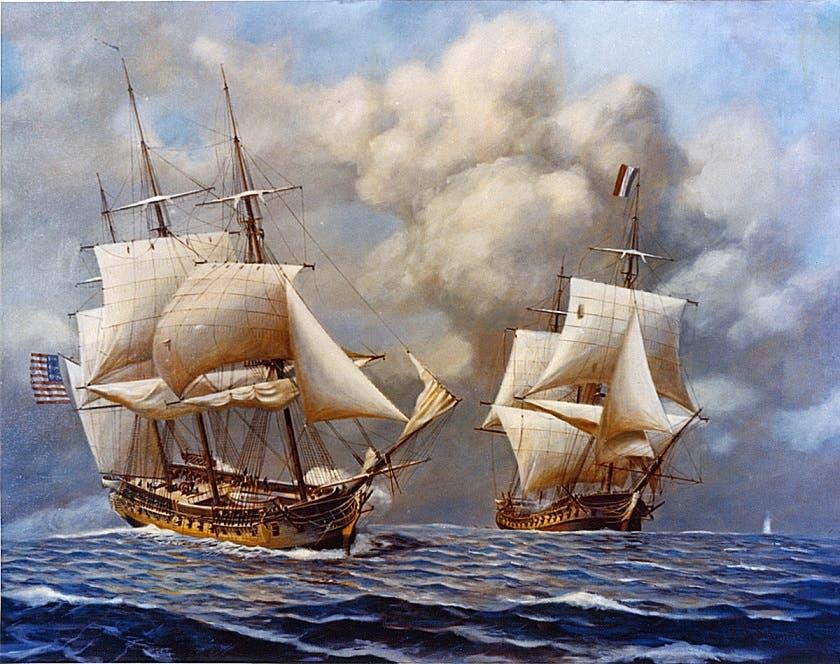 رسم تخيلي لمواجهة بين سفينة أميركية و أخرى فرنسية
