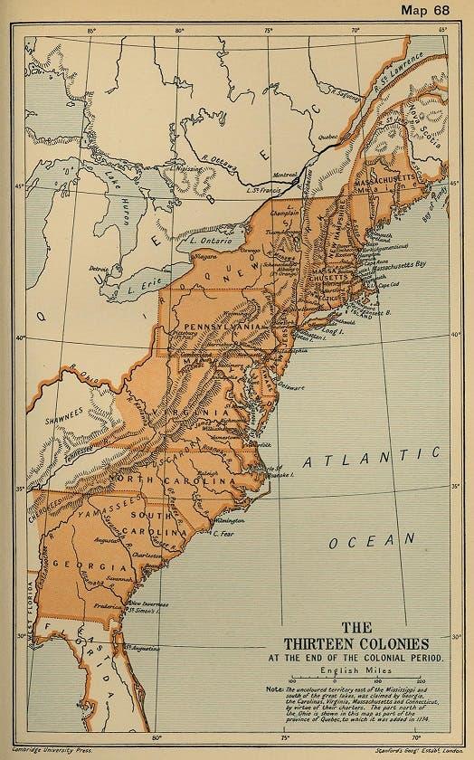 خريطة تجسد المستعمرات الثلاثة عشر