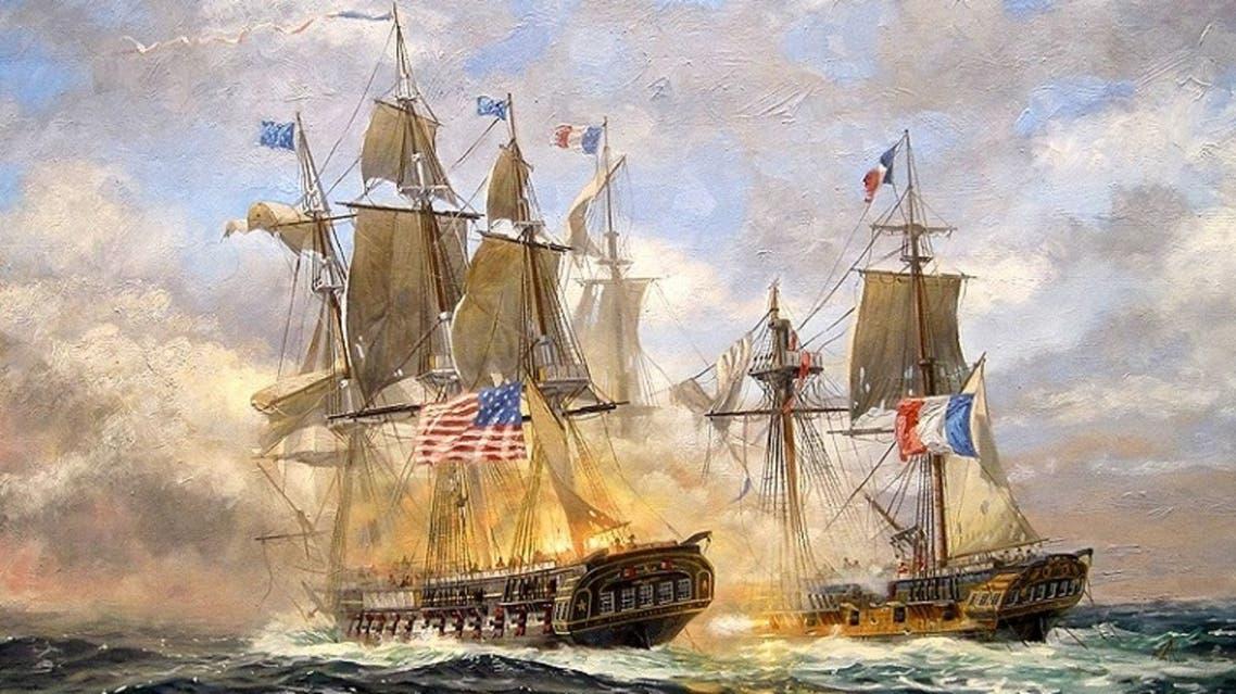 لوحة زيتية تجسد مواجهة بحرية بين سفينة فرنسية وأخرى أميركية