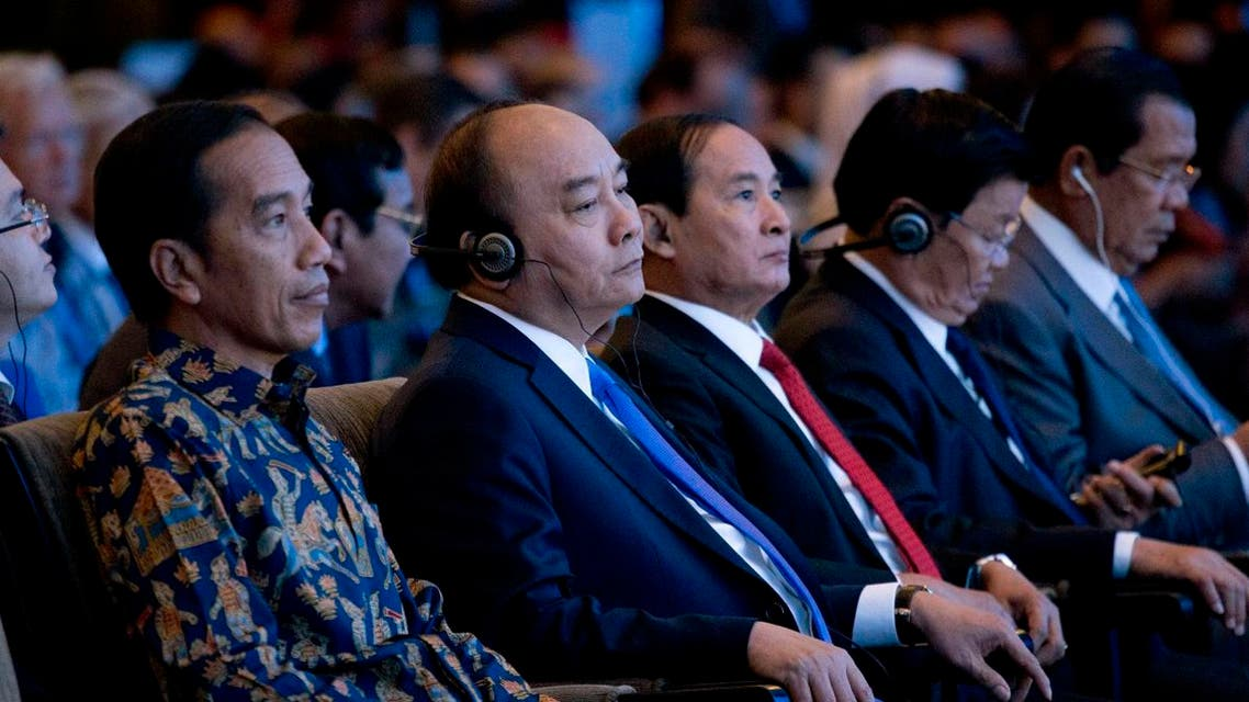 From left to right, Indonesia's President Joko Widod, Vietnam's Prime Minister Nguyen Xuan Phuc, Myanmar President Win Myint, Laos Prime Minister Thongloun Sisoulith and Cambodia's Prime Minister Hun Sen attend the opening of IMF-World Bank annual meetings in Bali, Indonesia, on Friday, Oct. 12, 2018. (AP)