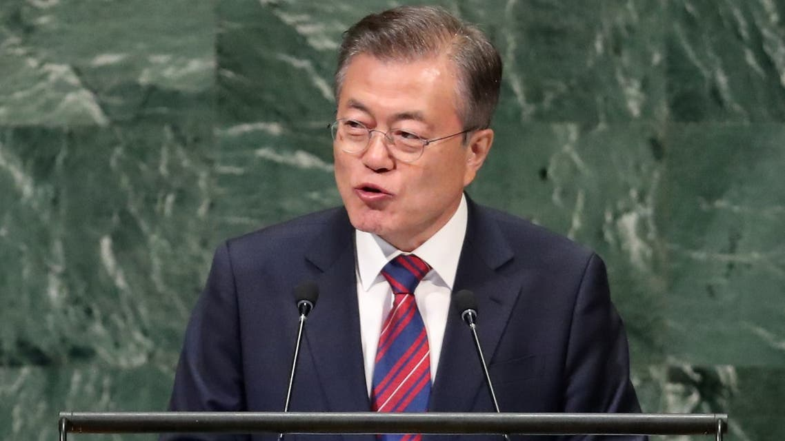 South Korea's President Moon Jae-in addresses the 73rd session of the United Nations General Assembly at U.N. headquarters in New York, U.S., September 26, 2018. REUTERS/Carlo Allegri