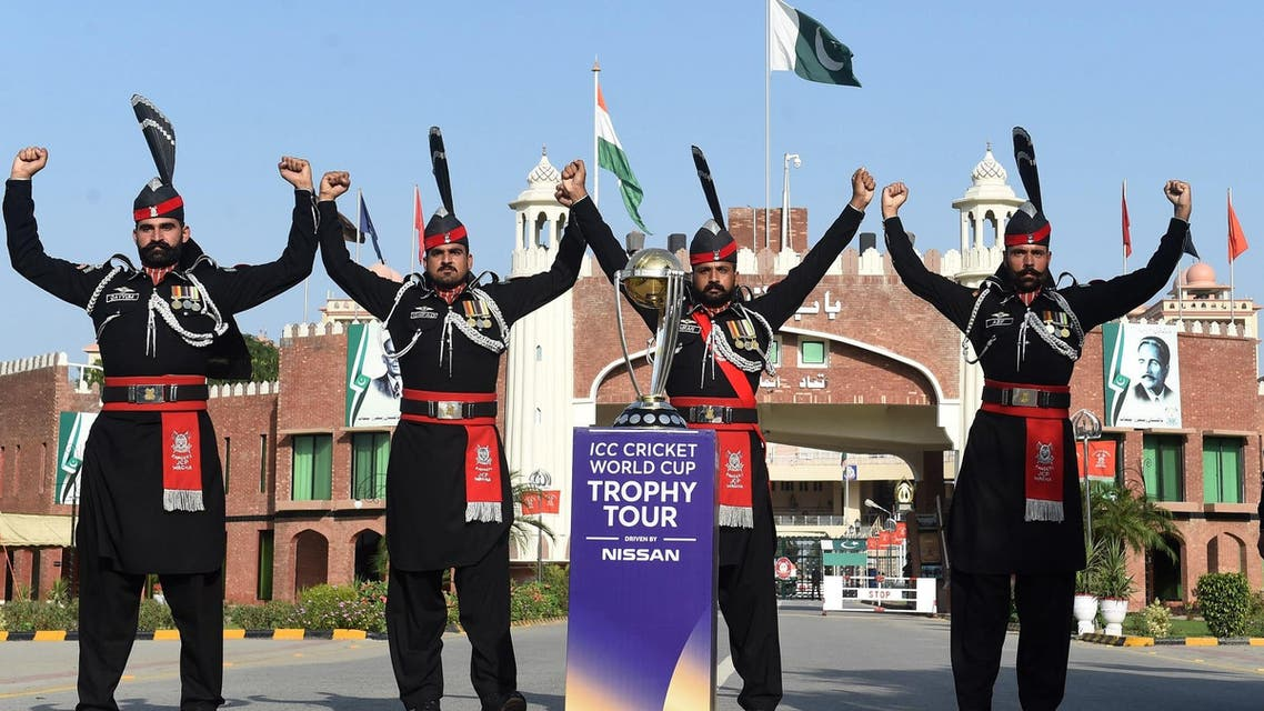Pakistani Rangers pose for photographs with the 2019 ICC Cricket World Cup trophy during an event at the Pakistan-India Wagah Border Post on October 4, 2018. (AFP)