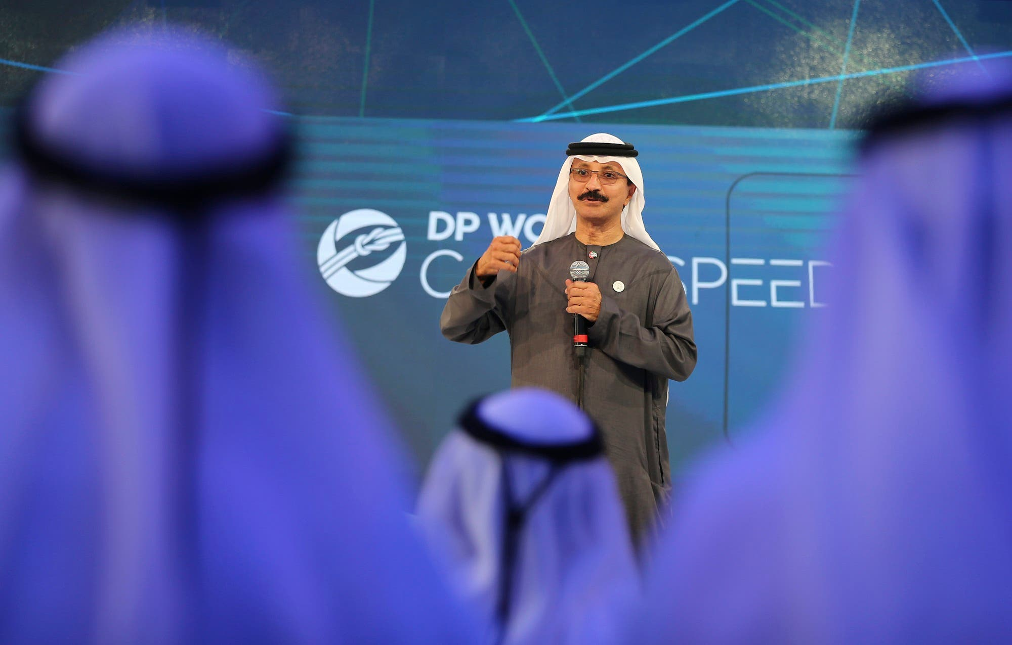 DP World's chairman and CEO Sultan Ahmed bin Sulayem during a presentation in Dubai. (File photo: AP)