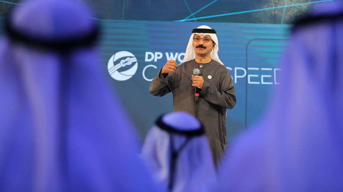 DP World's chairman and CEO Sultan Ahmed bin Sulayem during a presentation in Dubai on April 29, 2018. (File photo: AP)
