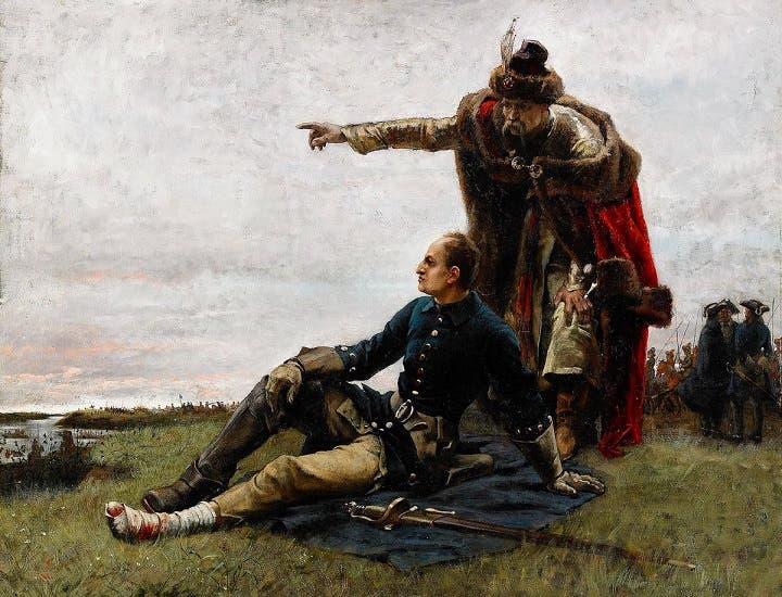 رسم تخيلي لملك السويد شارل الثاني عشر وهو مصاب عقب معركة بولتافا