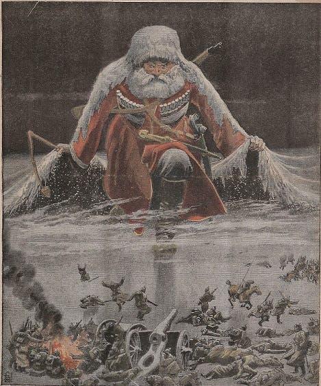 رسم كاريكاتيري ساخر للجنرال شتاء اقتبس من احدى الصحف الفرنسية سنة 1916