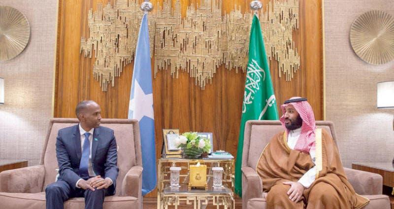 ولي العهد السعودي الأمير محمد بن سلمان مع رئيس الوزراء الصومالي حسن علي خيري