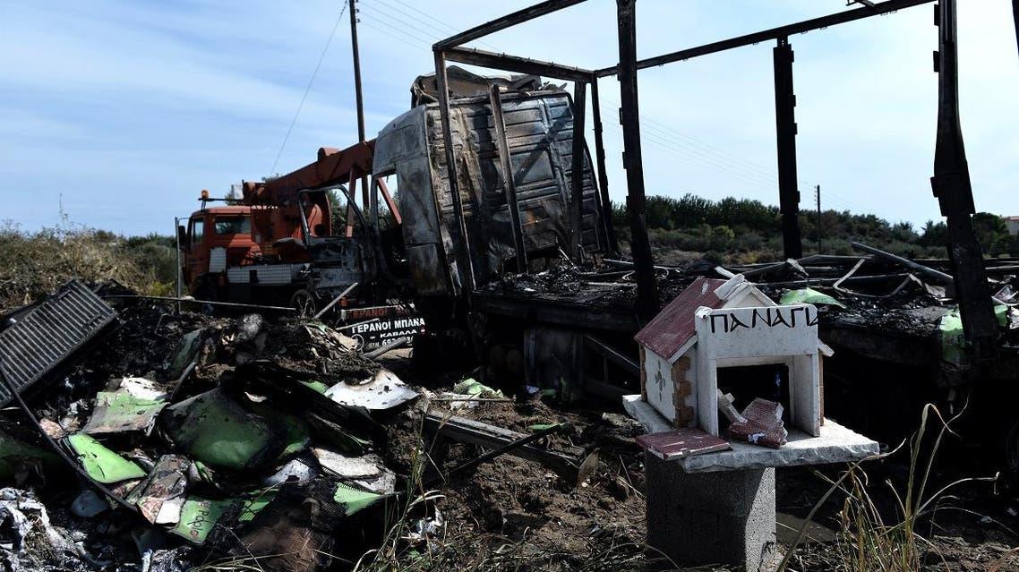 Greece migrants accident (AFP)