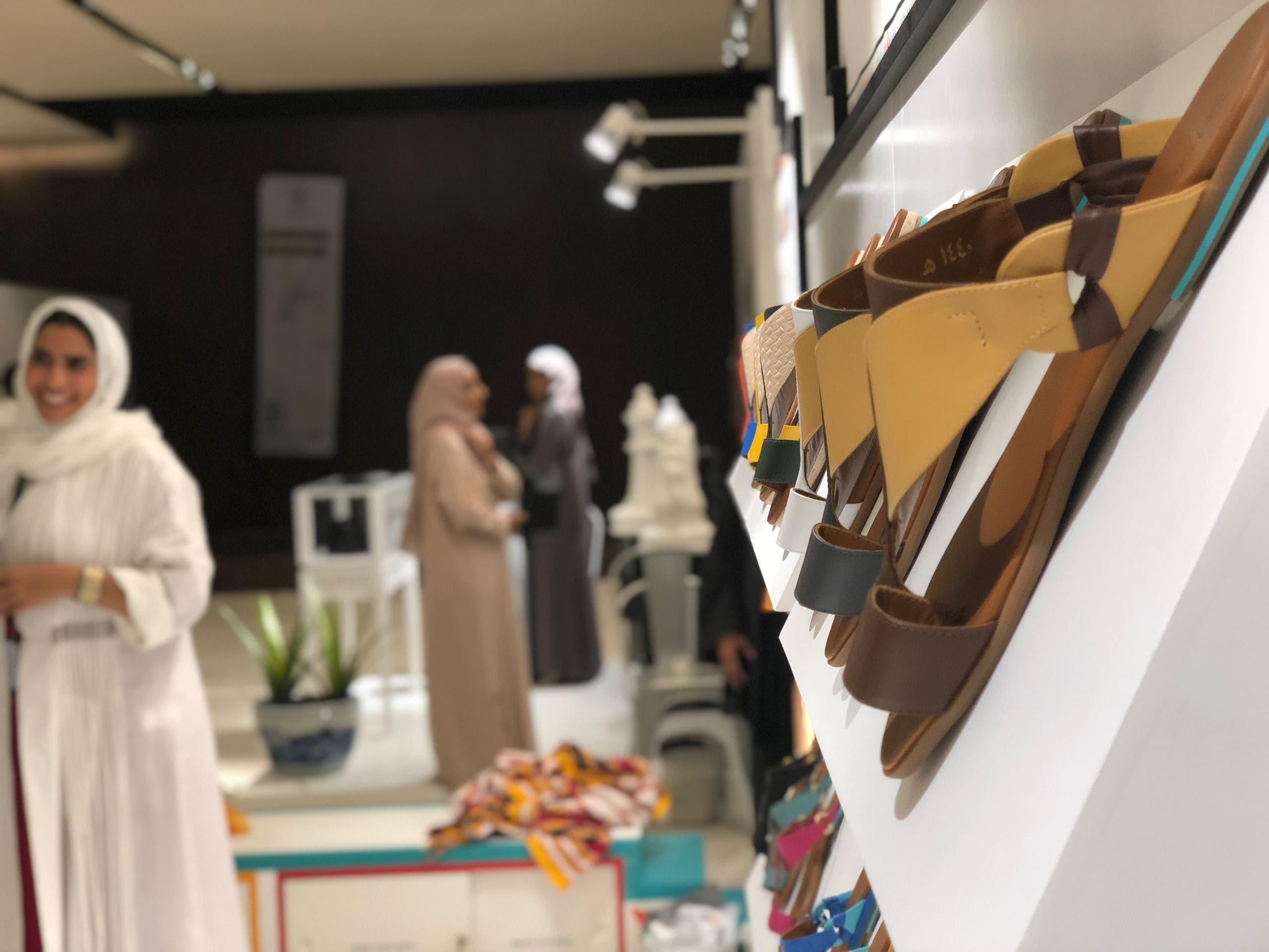 High-end footwear on display at Tamashee's booth, with al-Qatt al-Assiri being their seasonal highlight (Photo: Ali Alshabnan)