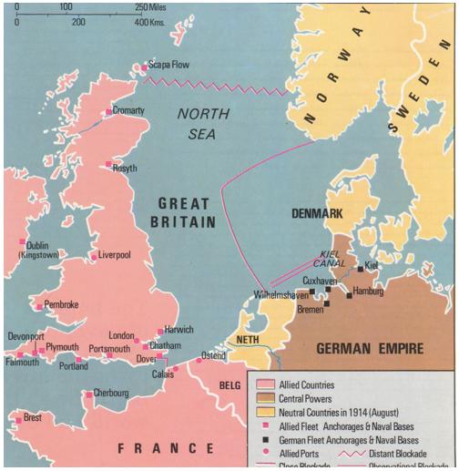 خريطة توضح الحصار البريطاني المفروض على الموانئ الألمانية خلال الحرب العالمية الأولى