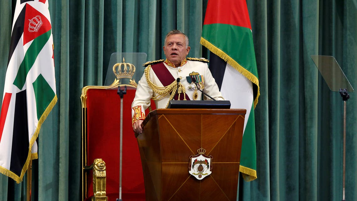 Jordan's King Abdullah speaks during the opening of the third ordinary session of the 18th Parliament in Amman, Jordan October 14, 2018. REUTERS/Muhammad Hamed