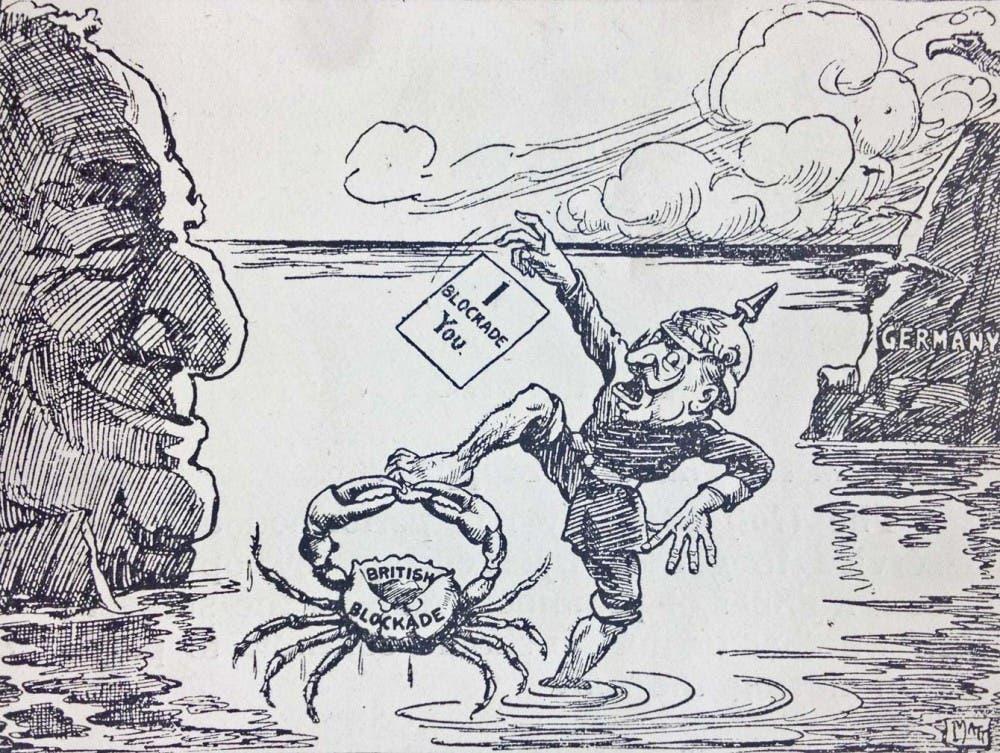 رسم كاريكاتيري بريطاني ساخر حول تأثير الحصار على الألمان