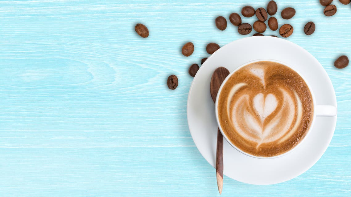 Coffee Latte and coffee beans - Stock image