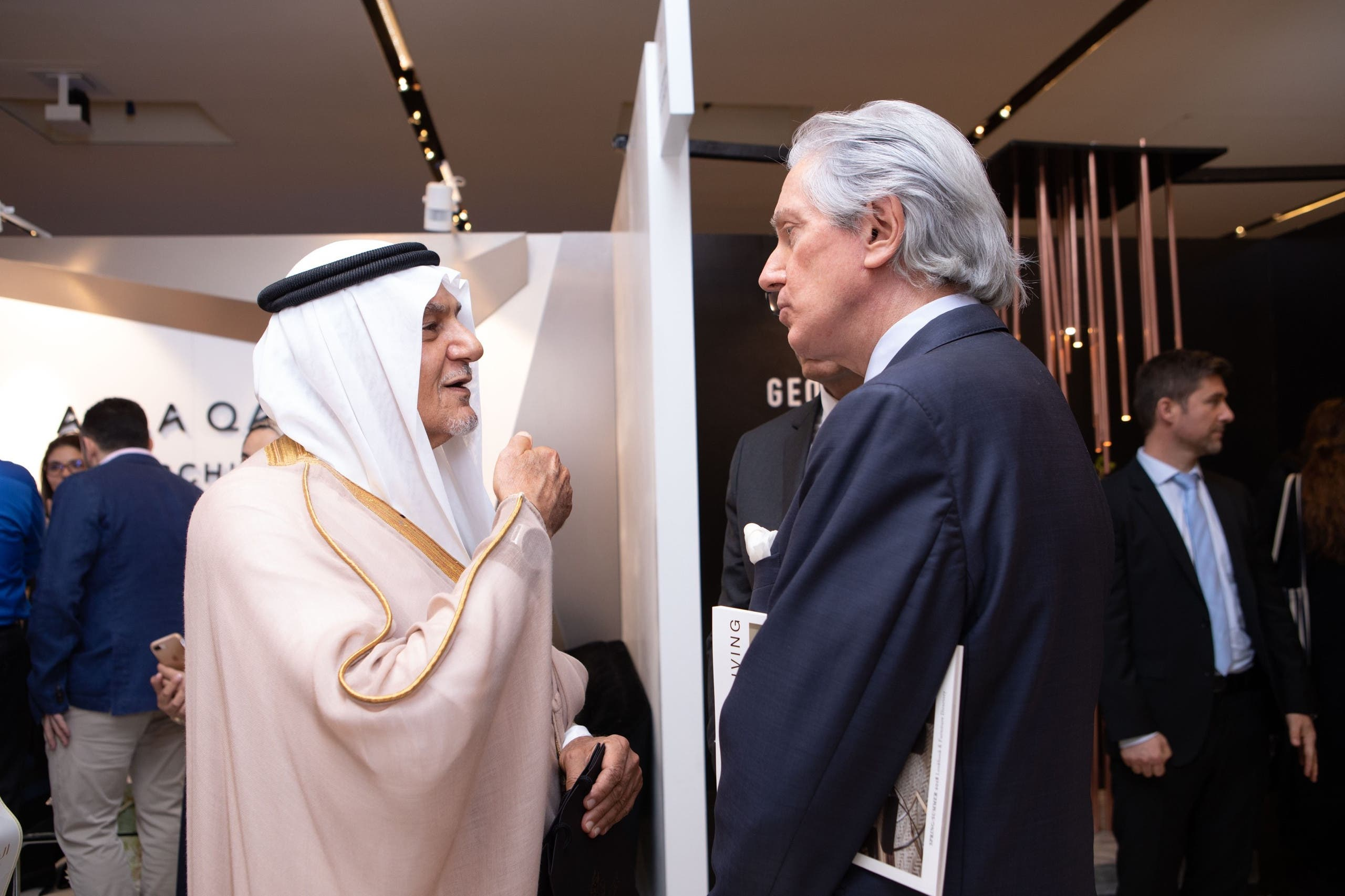 Prince Turki al-Faisal and French Ambassador to Saudi Arabia François Gouyette enjoy a conversation on the sidelines of the openings day Saudi Design Week. (Photo: Abdulmajeed Alrowdan)