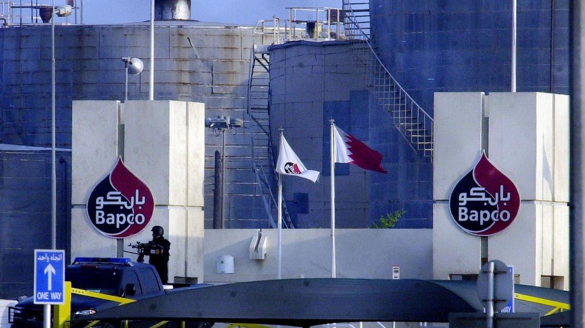 A Bahraini military commando stands guard outside the gates of Bapco on Oct. 26, 2006. (File photo: AP)