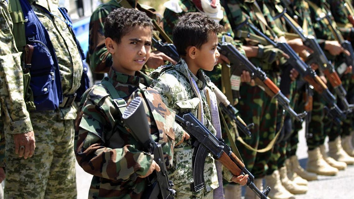 Houthi children recruited into the military. (File photo: AFP)