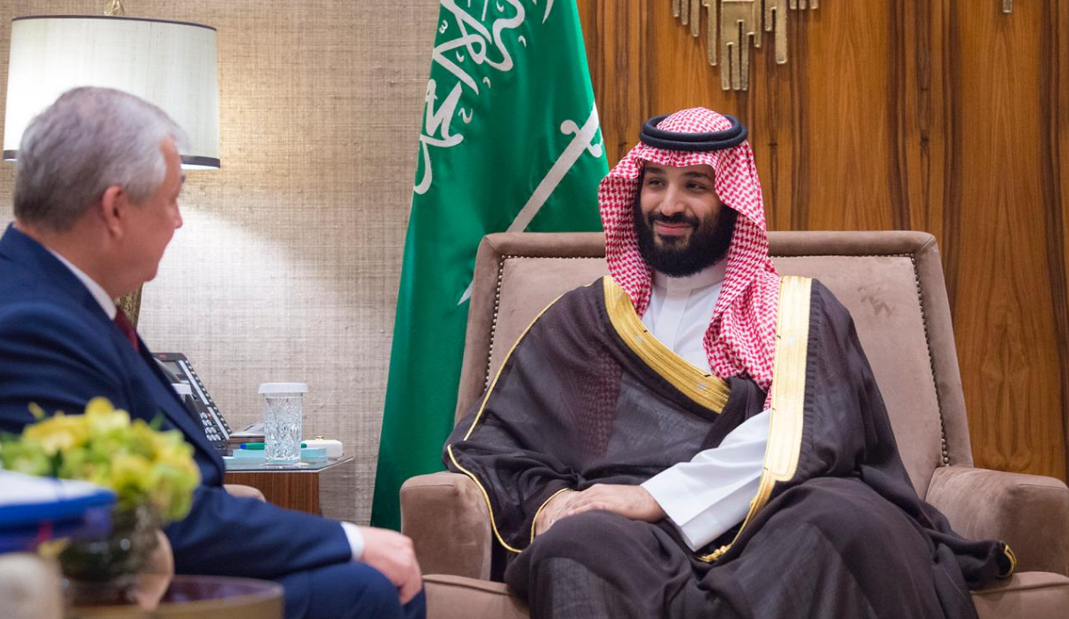 Saudi Crown Prince with Russian envoy to Syria. (SPA)
