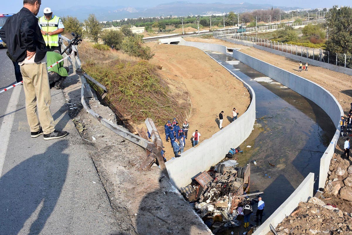 Turkey migrant bus crash. (AP)