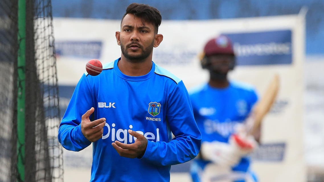 Devendra Bishoo attends a nets practice session at Headingley cricket ground in Leeds, northern England on August 24, 2017. (AFP)