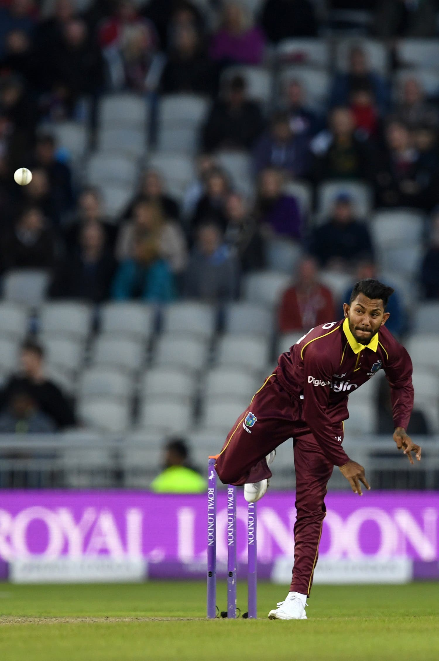 Bishoo bowls during the first One-Day International (ODI) cricket match between England and the West Indies at Old Trafford, Manchester, on September 19, 2017. (AFP)