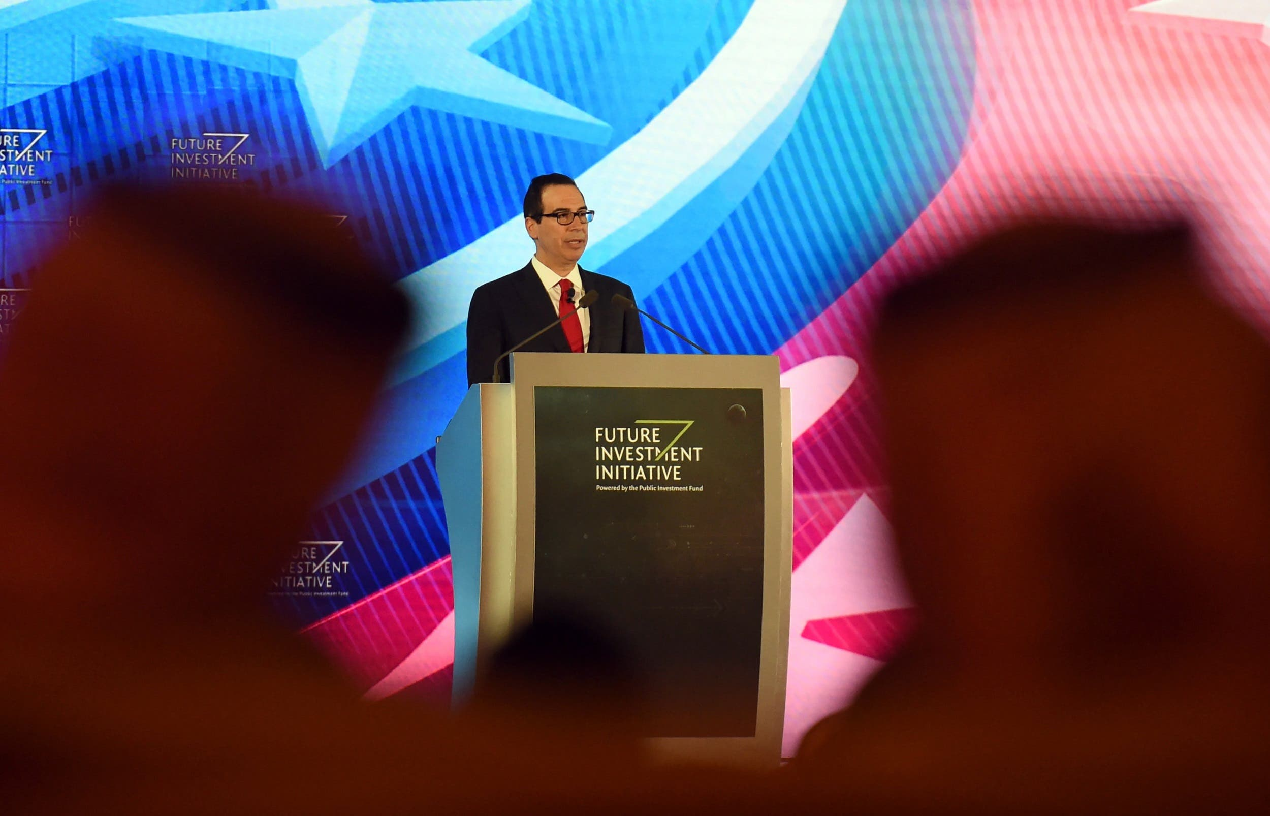 US Treasury Secretary Steven Mnuchin speaks during the three-day Future Investment Initiatives conference in Riyadh, on October 25, 2017. (AFP)